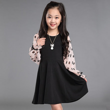 Children Girl Clothing Dress Spring Summer Fashion 2017 Long-Sleeved Pink Lace Dot Print New Design Girls Dresses Brief Black