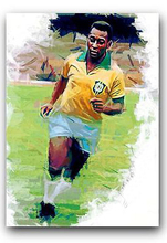 "original ART football KING Pele oil painting--TOP ART 100% hand painted -36 "" inches - FREE SHIPPING COST(China)"