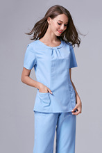 2017 Rushed Medical Suit Lab Coat Women Hospital Medical Scrub Clothes Uniform Fashion Design Slim Fit Breathable Whole Sale(China)