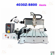mini cnc milling machine CNC 4030Z-S800 4axis engraving wood lathe router with USB parallel port adapter cable(China)