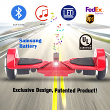 USA Germany Stock Patented Hoverboard bluetooth 7.3'oxboard patin electrico hoverboard overboard +100% samsung battery scooters(China)