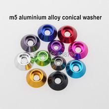 50pcs m5 aluminium alloy anodized color car model conical washer conical gasket conical shim (please note which color you need)(China)
