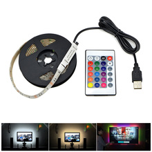 3528 SMD DC5V USB charger adapter LED strip light white / warm white / RGB with IR remote control USB cable LED lamp Decor light(China)