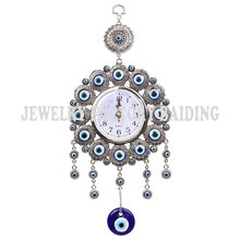 Turkish Elephont Evil Eye Hanging Wall Metal Glass Charm Pendent Amulet Nazar Home Watch Decoration Office Protector Ornament(China)