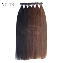 "Neitsi I tip keratin hair stick hair straight extensions 20"" 1g/s 50g 100g 100%Brazilian remy human hair 16 colors fast shipping"