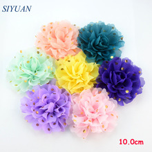 32pcs/lot Newest 10.0cm Large Gold Polka Dotted Fabric Chiffon Flower Flat Back Headband Floral Hair Embellishment H0251(China)