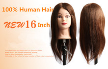 100% Human Hair Training Head Hairdressing Practice Training Mannequin Doll Head For Sale(China)