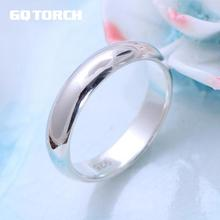 Real Pure 925 Sterling Silver Rings For Women And Men Simple Ring Smooth High Polishing Wedding Band Ring For Lovers Couples(China)