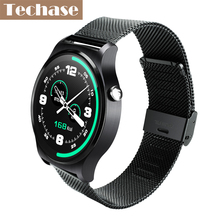 Techase Heart Rate Monitor Watch Bluetooth 4.0 Smartwatch For Android iOS Phone Life Waterproof Sport Smart Health Leather Band(China)