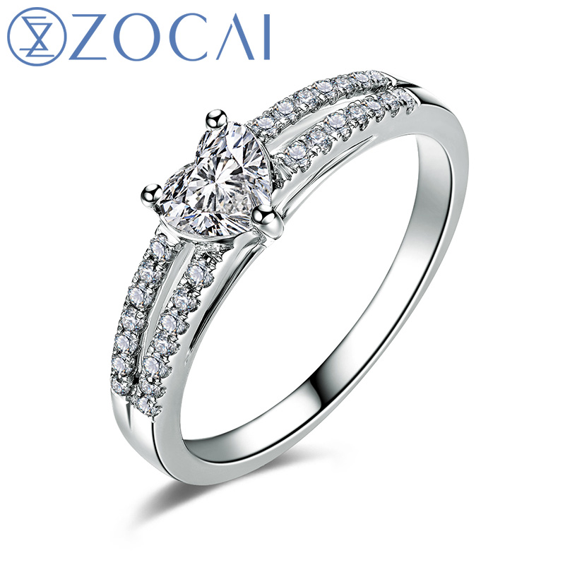ZOCAI 100% natural diamond ring 0.54 ct certified diamond 18K white gold ring engagement ring fine jewelry W05945(China)