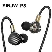 New YINJW P8 3 Dynamic Driver System Speakers HIFI Bass Subwoofer In Ear Earphone Stereo Sports Earphone Monitor Earbud Headset