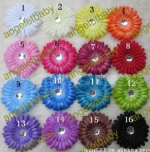 50pcs/lot Wholesale    girl clip  gerbera daisy flowers for hair crochet headband 16 Colors for choose