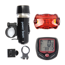 Bicycle Computer Speedometer and 5 LED Mountain Bike Cycling Head Light and Rear Lantern Light Super Bike Accessories Sets