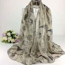 France Paris Effel Tower Print  Stamp Print Viscose Scarf  Women Cachecol Winter ladies spring scarves 2015