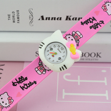 7 candey colors Lovely Clock Hello Kitty Slap Watch Girls Cartoon kids Watch Silicone Rubber Wrist Watch Children Christmas gift(China)