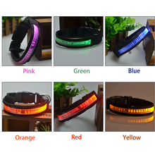 Pet Collar Cow LED Light Engraving Tag DIY Dog Name Collar With Free Engraving Pet Name And Owner Phone NO 10% off  over 2pcs!