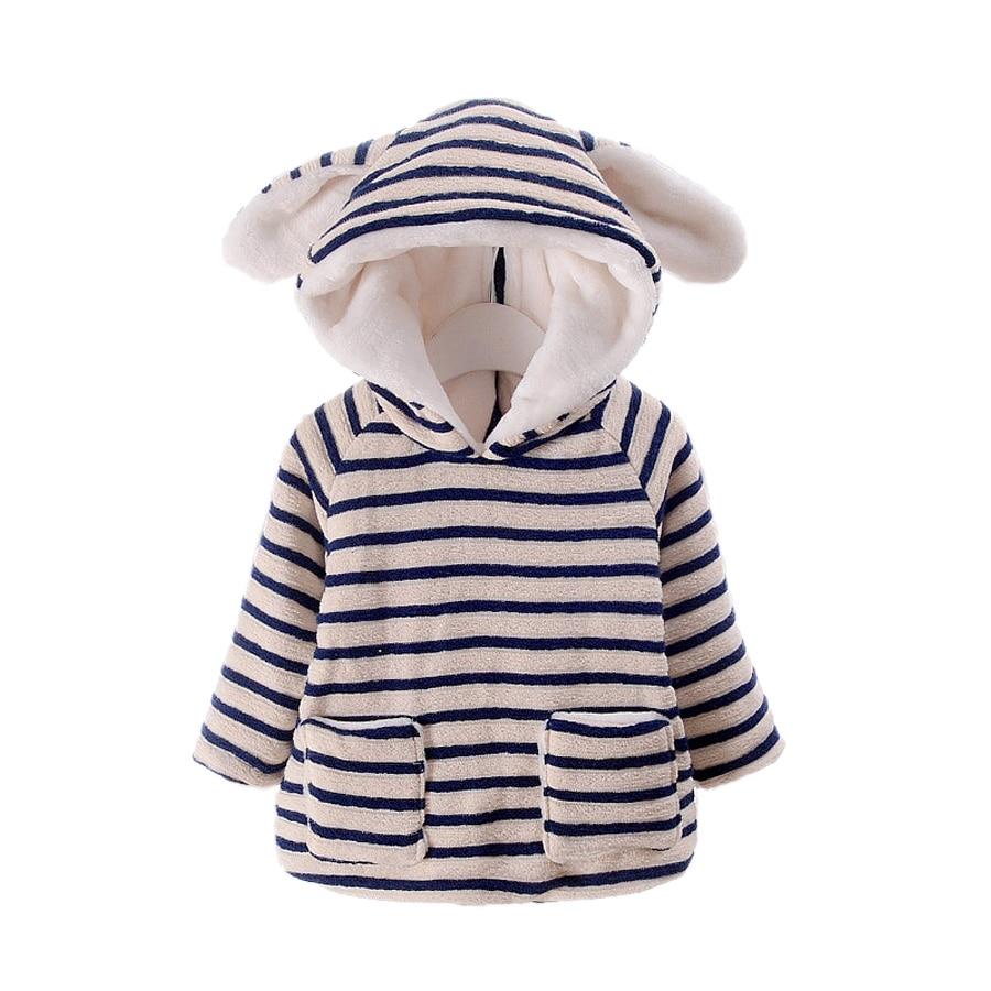 cute baby girl parkas coat striped rabbit ears Winter warm parkas coat for 1-3yrs little girls kids children outerwear clothesОдежда и ак�е��уары<br><br><br>Aliexpress