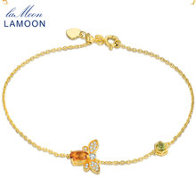 URING- Bee 5X7mm 100% Natural Oval Citrine 925 Sterling Silver Jewelry 14K Yellow Gold Chain Charm Bracelet S925 LMHI002