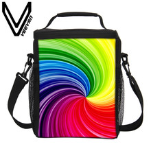 VEEVANV Brand 2017 Geometric Color Pattern 3D PU Thermal Insulated Lunch Bags for Women Cooler Picnic Food Bag Storage Lunch Bag