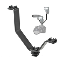 Triple Hot Shoe V Mount Flash Bracket for Video Lights Microphones or Monitors on Cameras and Camcorders(China)
