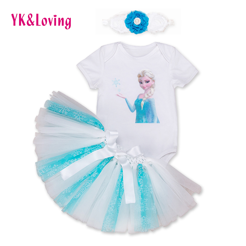 2016 Newest Snow Queen Kids Elsa Dresses For Girls Spring Summer Cospaly Party Costumes White Blue Cotton Children Clothing 3PCs<br><br>Aliexpress