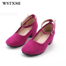 2017 Girls Wedding Shoes Little Girl High Heels Children Princess For Party Casual Black Kids Dress Shoes Leather Dance Shoes(China)