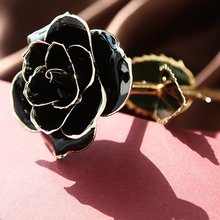 Shiny Black Gold Dipped Rose Trim Long Stem Genuine Flower Eternal Love Mother's Day Events Wedding Party Decoration Gifts Box