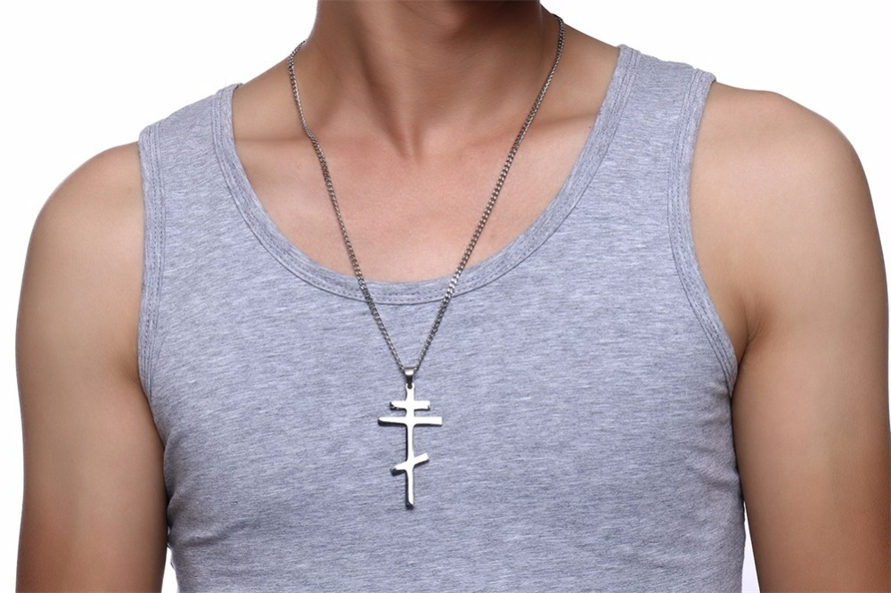 Authentic Russian Orthodox Cross Pendant Necklace for Men SILVER 18