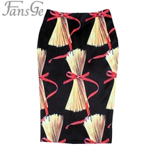 New Spring Summer Elegant Fancy Brand Designer Print Pencil Skirt Women Fashion Midi High Waist Elastic Tube Skirts Faldas Saia