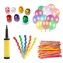 132pcs 3 Kinds of Latex Balloons Round Strip Spiral Balloons with a Handheld Air Inflator 8pcs Colorful Crimped Curling Ribbons(China)
