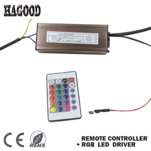 Hot Sale 10-100W Waterproof LED Driver AC85-265V Power Supply DC7-38V Transformers+RGB Remote Controller for Led Light DIY