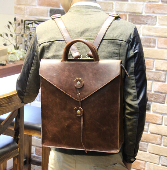 ETN BAG hot sale brand high quality men PU Leather backpack male vintage backpack coffee black man business bag folder<br>