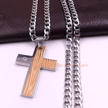 Gold Silver Stainless steel Biker Large Cross Pendant Men's 6MM NK Curb Chain Necklace 24''(China)