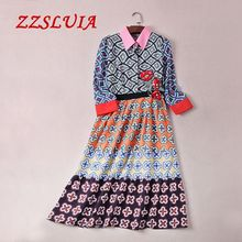 S-XL Casual printed flower embroidery appliques patchwork designer 3/4 sleeve slim dress 2017 new lady nice women dress 6103A