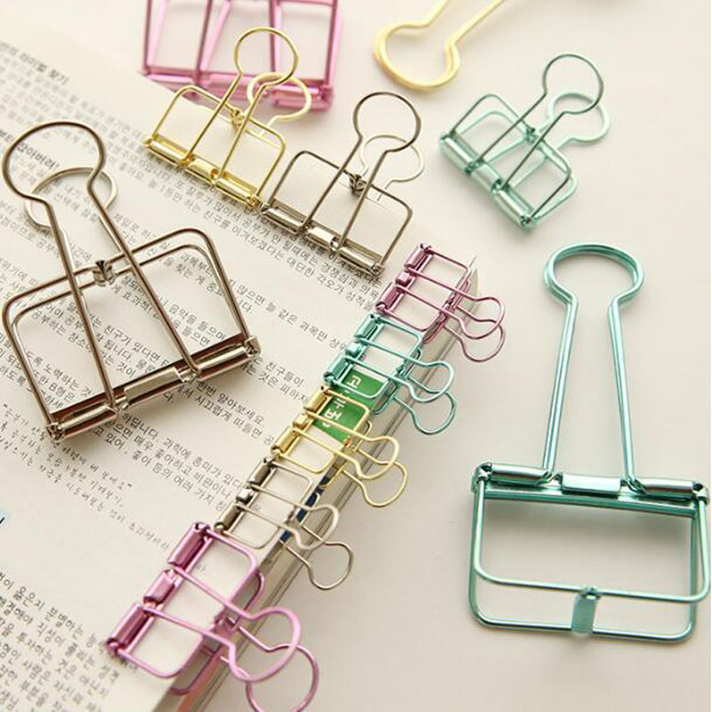 5pcs/lot Gold Rose Red Pink Paper Clips De Papel Notes DIY Bookmark Office School & Office Supplies Binder(China (Mainland))