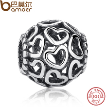 Stunning 925 Sterling Silver Open Your Heart Charm Openwork Beads Fit Bracelet Bangle Jewelry Making PAS021(China)