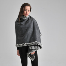 New Arrival Gray Women's 100% Wool Rabbit Fur Cape Classic Cashmere Pashmina Shawl Solid Color Stole Poncho Size 180 x 70cm(China)