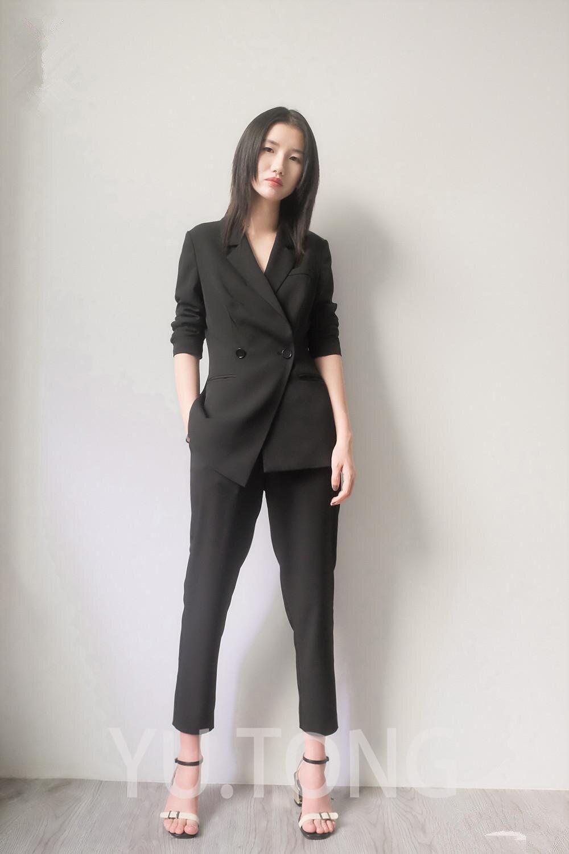 80-1 Custom Black Special Bussiness Formal Elegant Women Suit Set Blazers Pants Office Suits Ladies Pants Suits Trouser Suits