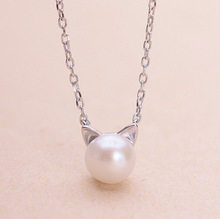 New 925 Sterling Silver Jewelry Imitation Pearl Cat Necklace Hot Silver Jewelry for Women