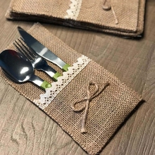 Buy 24PCS Country Wedding Table Silverware Holder Natural Burlap Cutlery Pockets Fork Pockets rustic wedding decoration centerpieces for $17.09 in AliExpress store