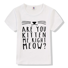 2017 Summer Funny Kitten Cat Purrvana Print Modal t shirt Kids Rock band Nirvana T-Shirts Children Baby Girls Clothing TA025