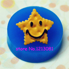 QYL107 Smiley Star Shaped Cookie / Biscuit Silicone Mold - Miniature Food, Jewelry, Charms (Resin, Paper Clay, Fimo, Gum Paste)(China)