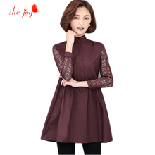 Trendy Brief Style New Clothings Women Blouse Lace Long Sleeve High Plicated Waist Shirts Long Female Tops Stand Collor(China)