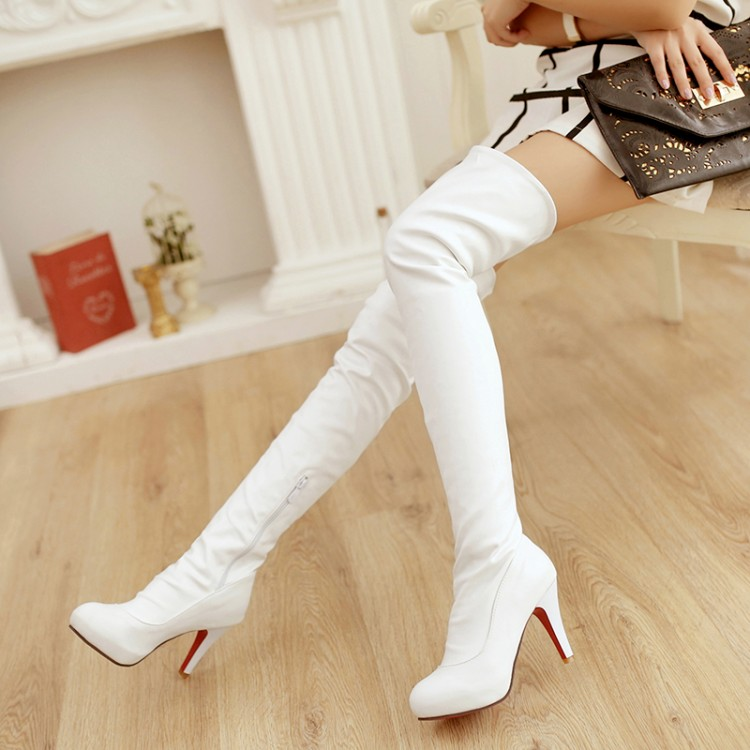 Spring Autumn Slim Over The Knee High Boots 2015 Sexy High Heels Soft PU Leather Shoes Fashion Motorcycle Boots Size 31-43<br><br>Aliexpress