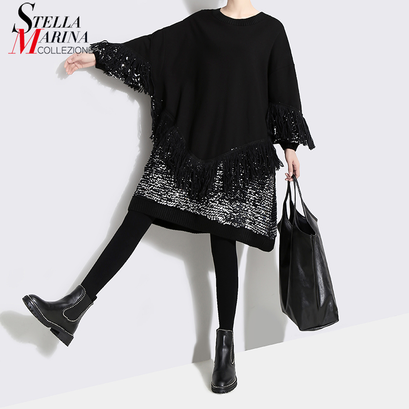 2018 Korean Style Women Black Sequined Dress With Tassel Long Sleeve Plus Size Female Stylish Evening Party Club Wear Dress 4589