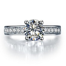 Test Real Ring Gold Jewelry Genuine Moissanite Diamond Ring 1CT Brand Custom Engagement Female 18K White Gold Semi Mount Paved(China)