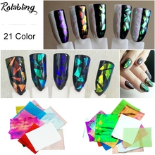 New Arrival 21Pcs/pack Different Colors Nail Art Stickers Broken Glass Pieces Mirror Foil Decals Beauty Decoration Tool DIY