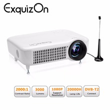 Exquizon 5018D 3000Lumens LED Video Home Projector Support DVB-T2 &HDMI&USB interface For Video Games/TV/Movies Proyector/Beamer(China)