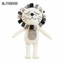 MOTOHOOD 16*33cm Kawaii Stuffed Plush Toys For Children Cute Gray Lion Pink Cat  Kids Toys Home Decoration Birthday Gift