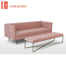 modern green pink velvet fabric 3 seat couch living room sofa set design furniture(China)